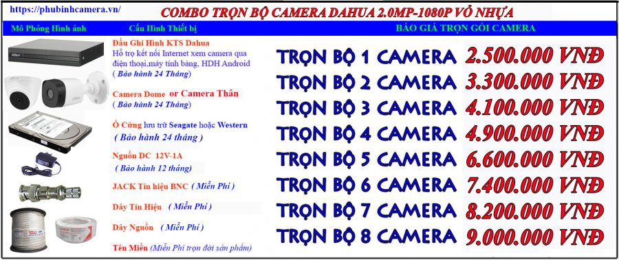bảng báo giá lắp đặt camera dahua vỏ nhựa 2.0mp-1080P