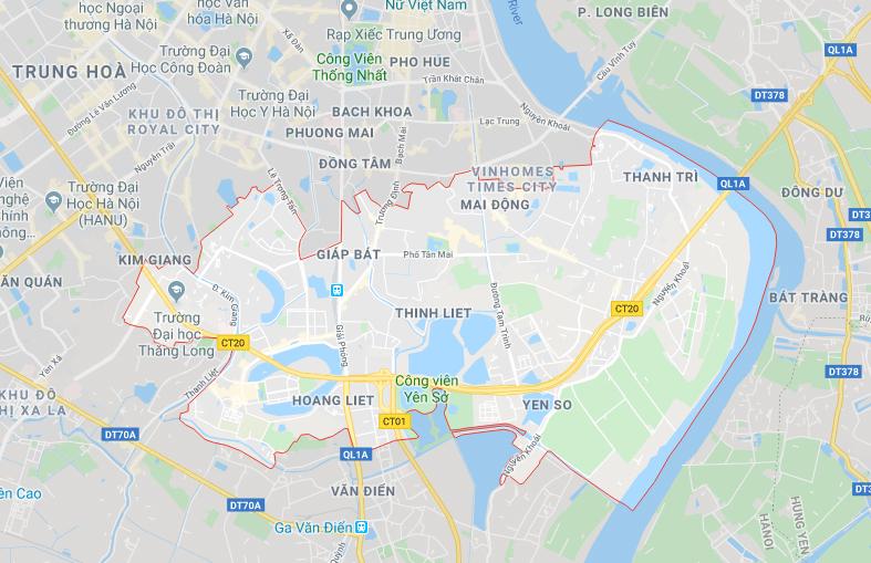 bản đồ quận Hoàng Mai