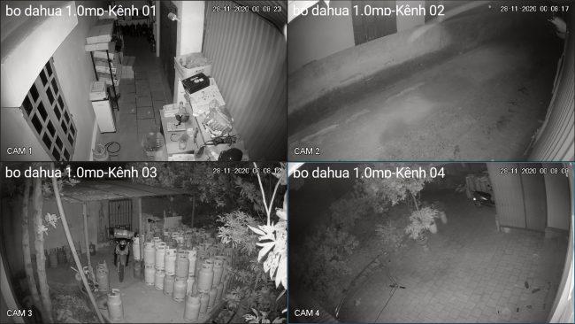 demo hình ảnh ban đêm lắp đặt bộ camera dahua 1.0mp vỏ kim loại