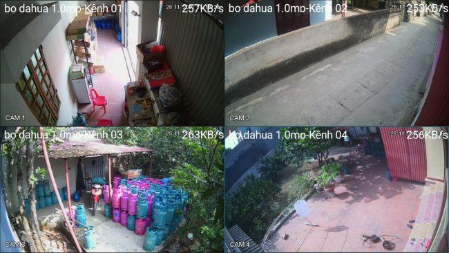 demo hình ảnh ban ngày lắp đặt bộ camera dahua 1.0mp vỏ kim loại