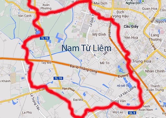 bản đồ quận nam từ liêm